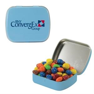 Mint Tin Maniacs - Small Light Blue Mint Tin With Chocolate Littles. Chocolate Candy In Mint Tin