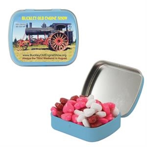 Mint Tin Maniacs - Small Light Blue Mint Tin With Candy Hearts. Heart Shaped Candy In Min Tin