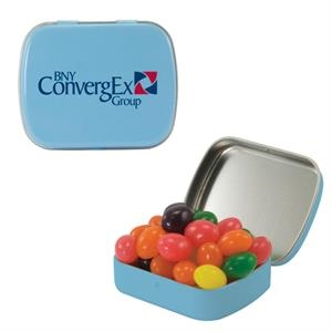 Mint Tin Maniacs - Small Light Blue Mint Tin With Jelly Beans. Jelly Bean Candy In Mint Tin