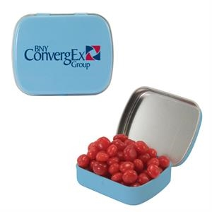 Mint Tin Maniacs - Small Light Blue Mint Tin With Cinnamon Red Hots. Cinnamon Red Hots In Candy Tin