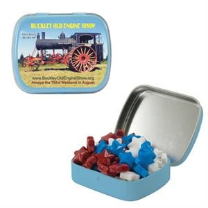Mint Tin Maniacs - Small Light Blue Mint Tin With Candy Stars. Star Shaped Candy In Mind Tin
