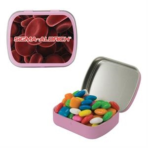 Mint Tin Maniacs - Small Pink Mint Tin Filled With Chewing Gum. Chickle Gum In Mint And Candy Tin