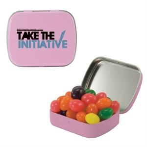 Mint Tin Maniacs - Small Pink Mint Tin With Jelly Beans. Jelly Bean Candy In Mint And Candy Tin