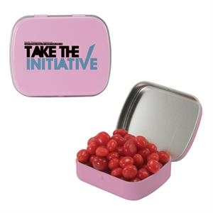 Mint Tin Maniacs - Small Pink Mint Tin With Cinnamon Red Hots. Tart Red Hot Candy In Mint Tin
