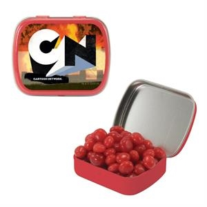 Mint Tin Maniacs - Small Red Mint Tin With Cinnamon Red Hots. Red Hot Tart Candy In Mint Tin