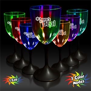 10 Oz Lighted Wine Glass With Clear Top And Black Base