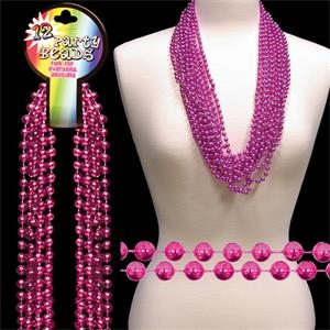 "Hot Pink Metallic Round Beaded Necklace, 33"" (7mm), Blank"