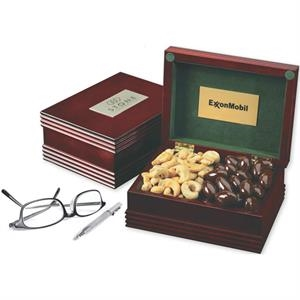 Deluxe Wood Box with Engraved Plate and 2 Confections