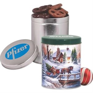 One Quart Tin with Mini Dark and Milk Chocolate Pretzels