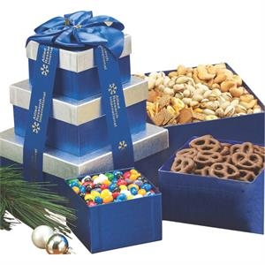 Sweet and Savory Gift Tower w Assorted Nuts and Confections