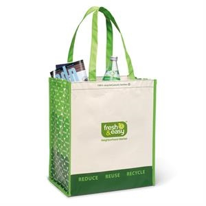 "Sand-summer Green - Laminated 100% Recycled Shopper Bag With 23.5"" Shoulder Straps"