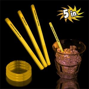 "Yellow 5"" Single Color Glow Swizzle Stick"