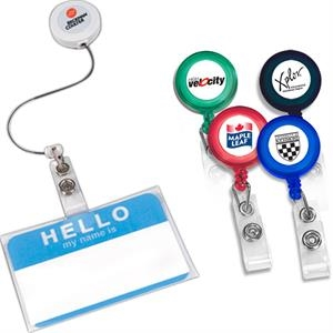 "Retract-a-badge - Round - Retractable Badge Holder With 30"" Long Auto-retract Cord"