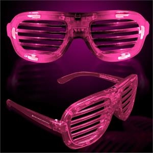 Pink Light-Up LED Slotted Glasses
