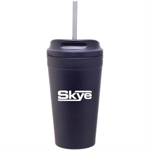 Matte Black - Double Wall Stainless Steel Tumbler With Plastic Liner