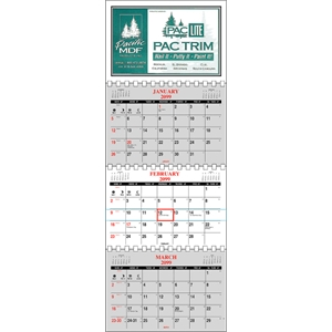 Four Panel Wall Calendar With Three Separate Monthly Pads