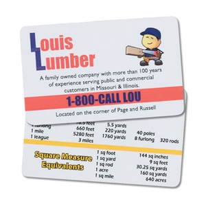 Laminated Metric Conversion Card, .015 Material Thickness