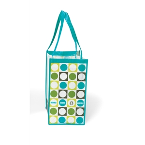 Turquoise - Laminated 100% Recycled Pet Fabric Shopper Bag With Pattern