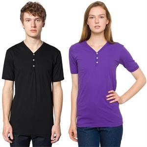 Fine Jersey Short Sleeve Henley Shirt With Three Button Placket. Blank