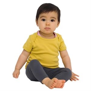 Colors - Organic Infant Baby Rib Short Sleeve Lap T-shirt. Blank