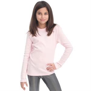 White - Youth Baby Rib Long Sleeve T-shirt. Blank