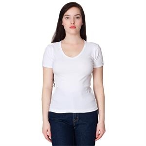 S-m-l- X L - White - Ladies' Baby Rib Short Sleeve V-neck T-shirt. Blank