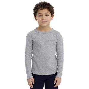 White - Kids Baby Thermal Long Sleeve T-shirt. Blank