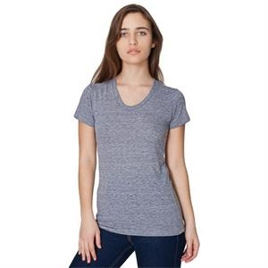 Women's Short Sleeve Tri-blend Track Shirt. Blank