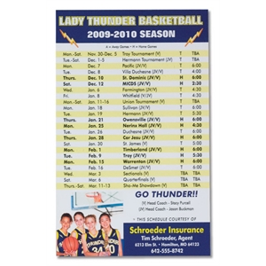 Laminated Sports Schedule With Adhesive Strip