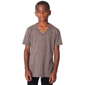 Youth Cotton/poly/rayon Tri-blend V-neck T-shirt. Blank