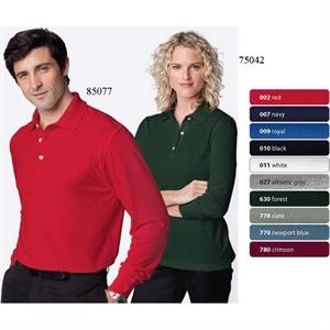 2 X L - Men's Long Sleeve Pique Polo With Teflon (r)