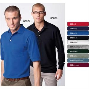 2 X L - Men's Extreme Long Sleeve Pique Polo Shirt With Pocket And Teflon (r)