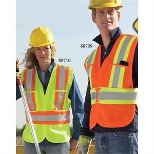 North End (r) - Reg(s- X L) - 5-point  X  Pattern Tear Away Safety Vest With Top And Lower Front Pockets