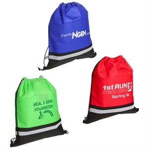 "Drawstring Bag With Safety Reflective Stripe On Front & 16"" Main Compartment"