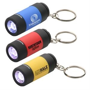 Plastic Pocket Size Flashlight With Carabiner Grip Swivel Key Chain