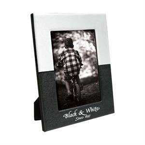 "4"" X 6"" Leatherette Black And White Frame"