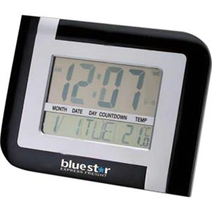 Matter Silver And Black Wall Or Desktop Clock With Temperature Display
