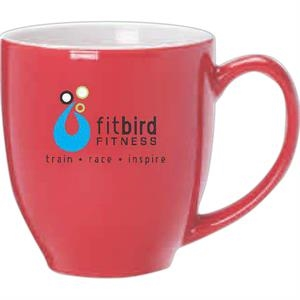 Red Ceramic With White Interior Bistro Mug, 16 Oz