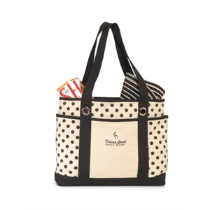 Audrey - Black - Preppy Polka Dot Fashion Tote Bag With Front Slash Pocket And Dual Side Pockets
