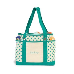 Audrey - Turquoise - Preppy Polka Dot Fashion Tote Bag With Front Slash Pocket And Dual Side Pockets