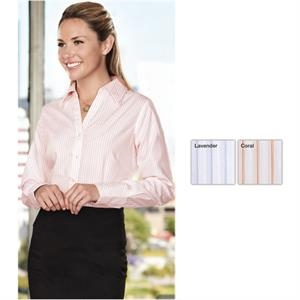 Gold (tm) Rossmoore - 2 X L - Women's 4 Oz, 100% Cotton Non-iron Multi-color Striped Dress Shirt