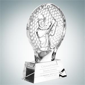 Molten Glass Male Golfer Champion Golf Tournament Award