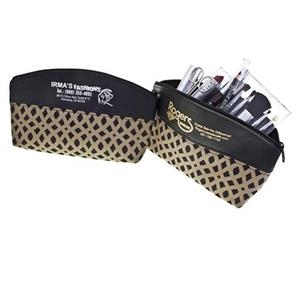 The Bronze Weave Collection - Cosmetic Bag With Extra Large Zipper Compartment