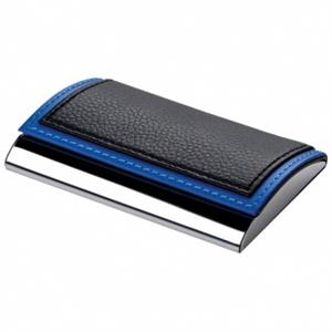 Pinemax - Black-blue - Metal Card Case With Faux Leather Top Cover