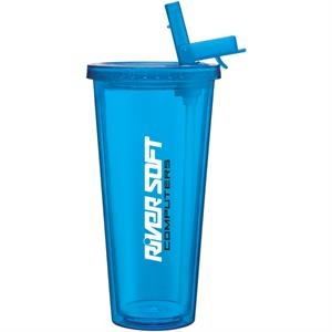 Spirit Sport - Aqua - 20 Oz Acrylic Double Wall Tumbler With Threaded Lid And Flip Up-straw
