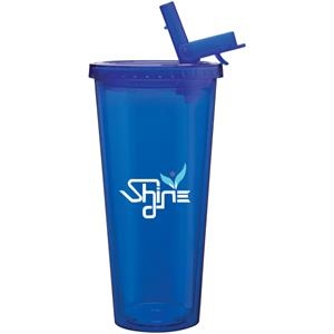 Spirit Sport - Blue - 20 Oz Acrylic Double Wall Tumbler With Threaded Lid And Flip Up-straw