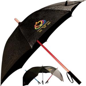 Sabre (tm) - Four Color Process - Blue, Red Or White Lighted Umbrella With A Flashlight At The Bottom Of Handle