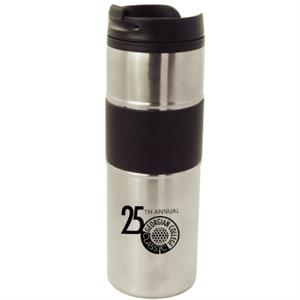 The Pristine - 16 Oz Stainless Steel Frame Travel Tumbler With Rubberized Grip