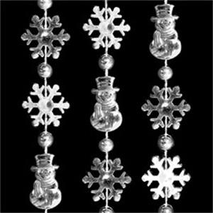 Silver Snowflakes And Snowman Bead Necklaces. Blank