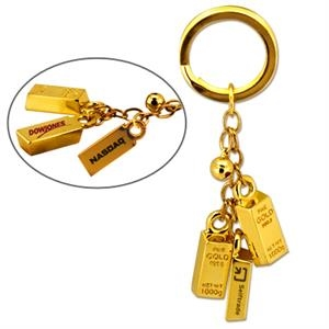 Gold Bar Bell Key Chain